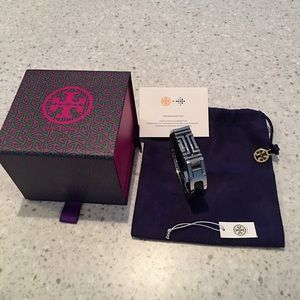Authentic Tory Burch Fitbit Bracelet -Silver/Navy
